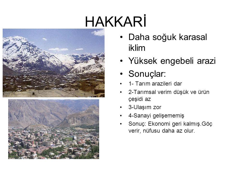 HAKKARİ Daha soğuk karasal iklim Yüksek engebeli arazi Sonuçlar: 1- Tarım arazileri dar 2-Tarımsal verim düşük ve ürün çeşidi az 3-Ulaşım zor 4-Sanayi