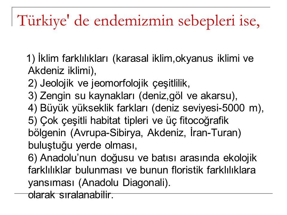 Türkiye' de endemizmin sebepleri ise, 1) İklim farklılıkları (karasal iklim,okyanus iklimi ve Akdeniz iklimi), 2) Jeolojik ve jeomorfolojik çeşitlilik