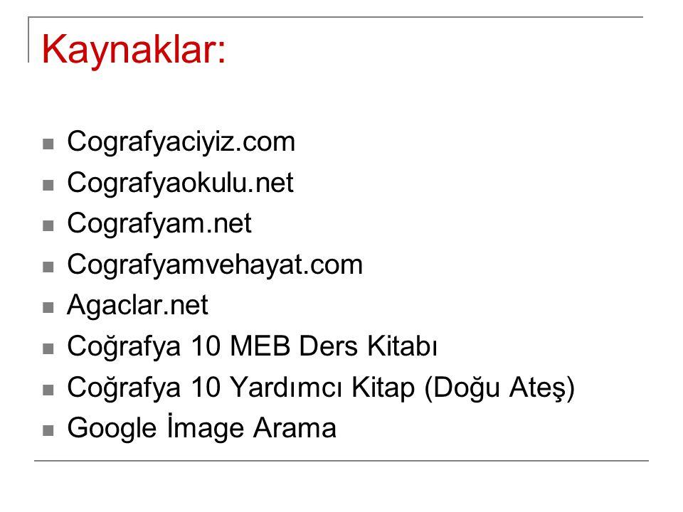 Kaynaklar: Cografyaciyiz.com Cografyaokulu.net Cografyam.net Cografyamvehayat.com Agaclar.net Coğrafya 10 MEB Ders Kitabı Coğrafya 10 Yardımcı Kitap (
