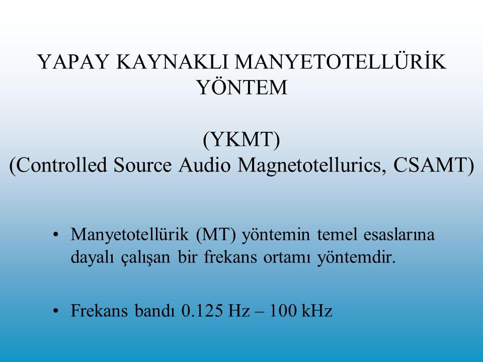 YAPAY KAYNAKLI MANYETOTELLÜRİK YÖNTEM (YKMT) (Controlled Source Audio Magnetotellurics, CSAMT) Manyetotellürik (MT) yöntemin temel esaslarına dayalı çalışan bir frekans ortamı yöntemdir.