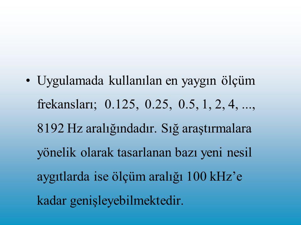 Uygulamada kullanılan en yaygın ölçüm frekansları; 0.125, 0.25, 0.5, 1, 2, 4,..., 8192 Hz aralığındadır.