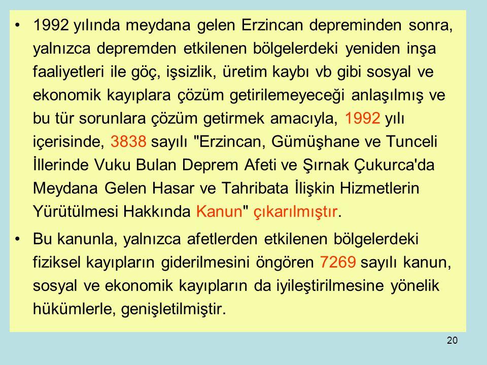19 Türkiye'de Afet Yönetiminin yasal çerçevede gelişimi 4623 sayılı yasayı yürürlükten kaldıran ve o tarihe kadar Bayındırlık Bakanlığınca yürütülen f