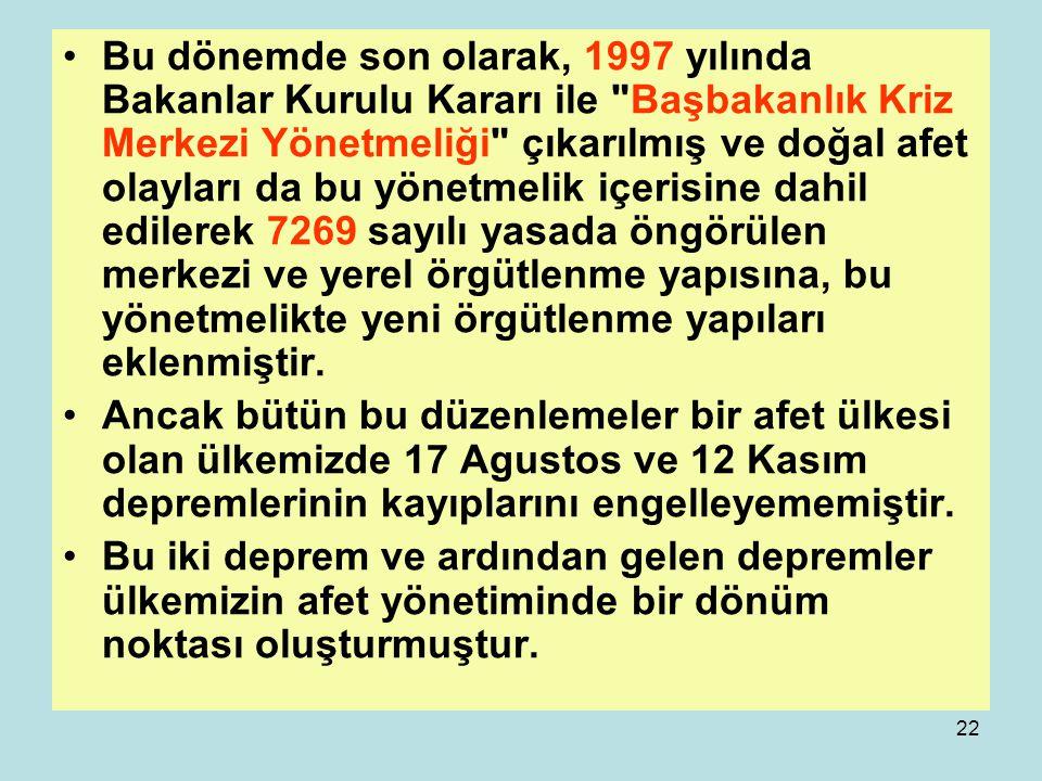 21 1995 yılında meydana gelen Dinar depreminden sonra ise, yalnızca Erzincan depreminden etkilenen bölgeler için geçerli olan 3838 sayılı kanun yürürl