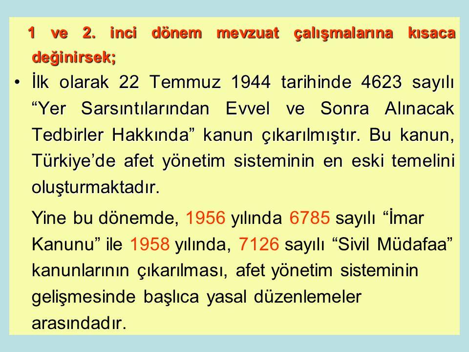 3 Türkiye'de afet yönetim sistemi ve uygulanan ulusal stratejiler, zaman içerisinde, önemli politika değişikliklerinin yapıldığı, dört ana döneme bölü
