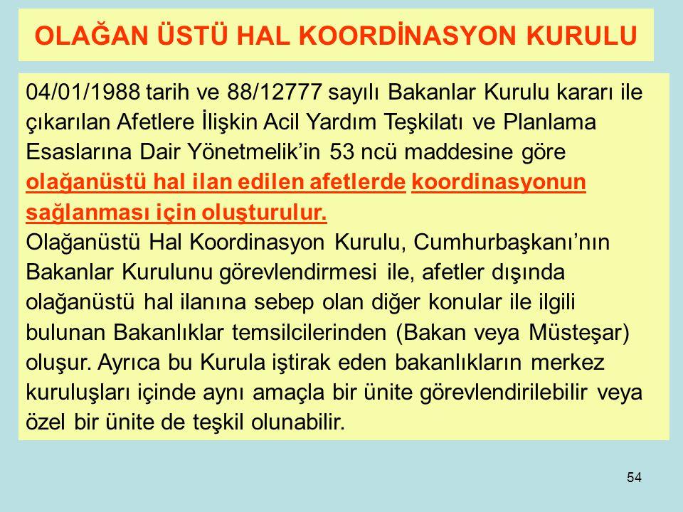 53 2-Ulusal Afet Yönetimi- Kurullar Ulusal Afet yönetiminde ihtiyaca göre oluşturulan veya toplantıya çağrılan yada ilan edilerek oluşturulan 4 adet k