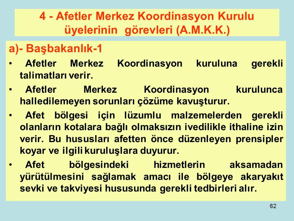 61 4 - Afetler Merkez Koordinasyon Kurulu(A.M.K.K.) Bu Kurulun Üyeleri Başbakanlık Genel Kurmay Başkanlığı Bakanlıklar Kızılay Müteakip slaytlarda bu