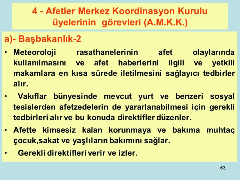 62 4 - Afetler Merkez Koordinasyon Kurulu üyelerinin görevleri (A.M.K.K.) a)- Başbakanlık-1 Afetler Merkez Koordinasyon kuruluna gerekli talimatları v