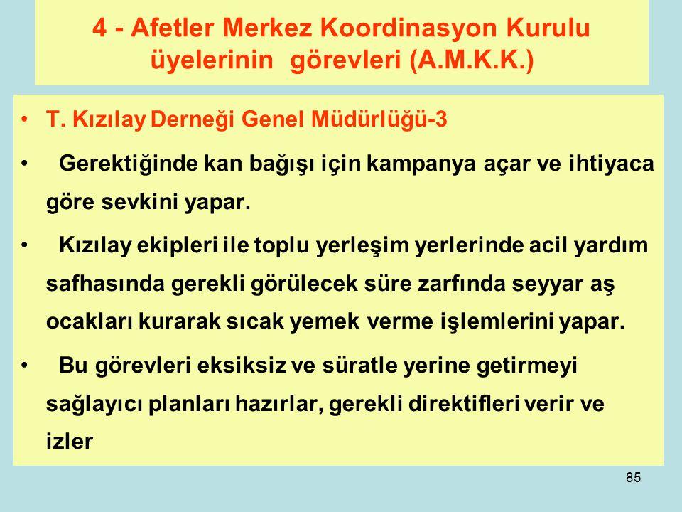 84 4 - Afetler Merkez Koordinasyon Kurulu üyelerinin görevleri (A.M.K.K.) T. Kızılay Derneği Genel Müdürlüğü -2 Yapılan mahalli planlamalara göre bölg