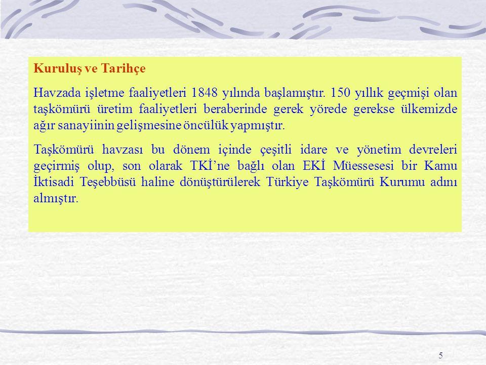 5 Kuruluş ve Tarihçe Havzada işletme faaliyetleri 1848 yılında başlamıştır.
