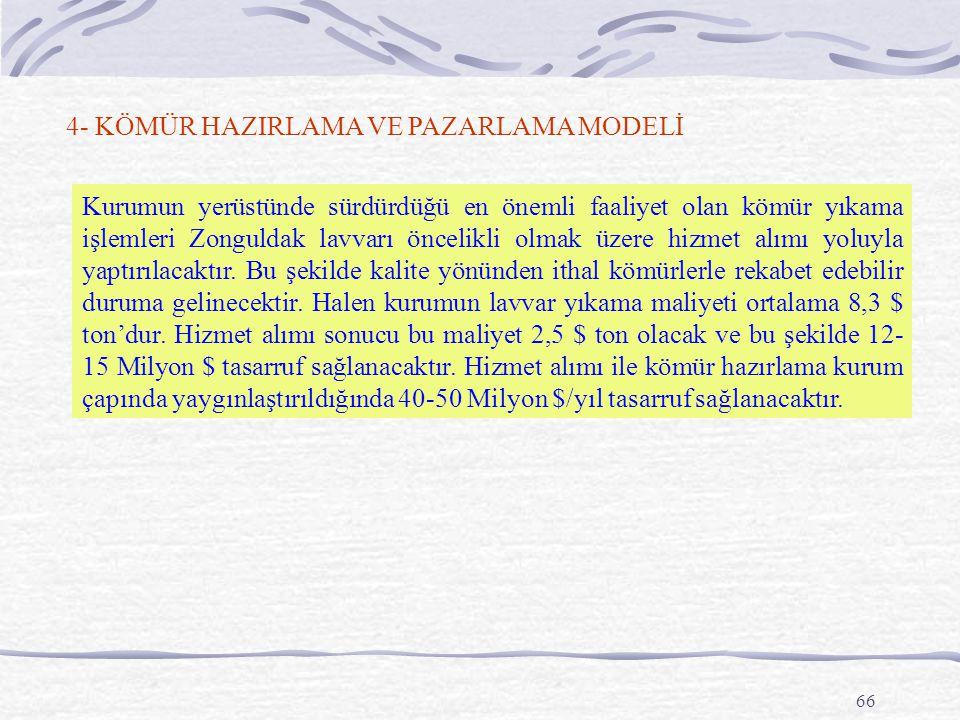 66 4- KÖMÜR HAZIRLAMA VE PAZARLAMA MODELİ Kurumun yerüstünde sürdürdüğü en önemli faaliyet olan kömür yıkama işlemleri Zonguldak lavvarı öncelikli olmak üzere hizmet alımı yoluyla yaptırılacaktır.