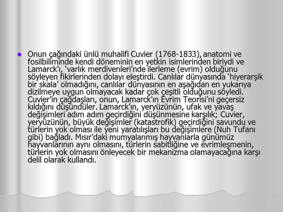 Onun çağındaki ünlü muhalifi Cuvier (1768-1833), anatomi ve fosilbiliminde kendi döneminin en yetkin isimlerinden biriydi ve Lamarck'ı, 'varlık merdiv