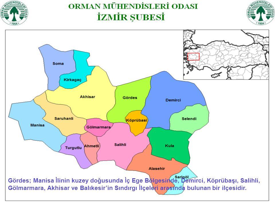 Gördes; Manisa İlinin kuzey doğusunda İç Ege Bölgesinde, Demirci, Köprübaşı, Salihli, Gölmarmara, Akhisar ve Balıkesir'in Sındırgı İlçeleri arasında b