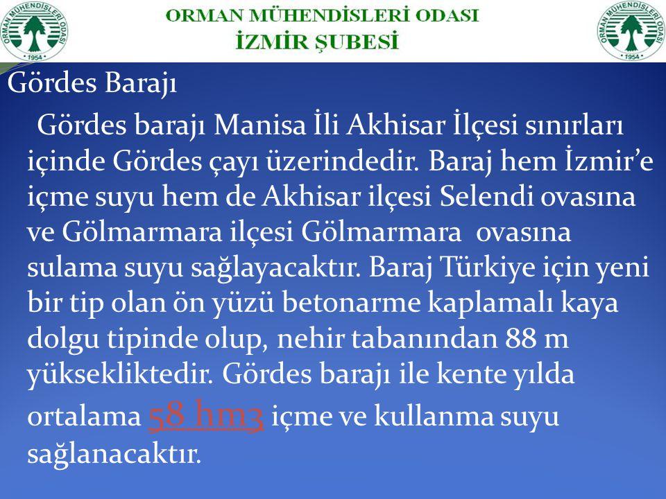 Gördes Barajı Gördes barajı Manisa İli Akhisar İlçesi sınırları içinde Gördes çayı üzerindedir. Baraj hem İzmir'e içme suyu hem de Akhisar ilçesi Sele