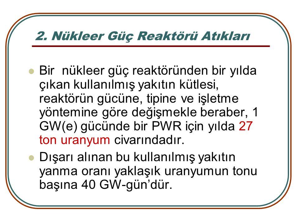 2. Nükleer Güç Reaktörü Atıkları Bir nükleer güç reaktöründen bir yılda çıkan kullanılmış yakıtın kütlesi, reaktörün gücüne, tipine ve işletme yöntemi