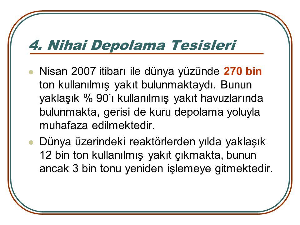 4. Nihai Depolama Tesisleri Nisan 2007 itibarı ile dünya yüzünde 270 bin ton kullanılmış yakıt bulunmaktaydı. Bunun yaklaşık % 90'ı kullanılmış yakıt