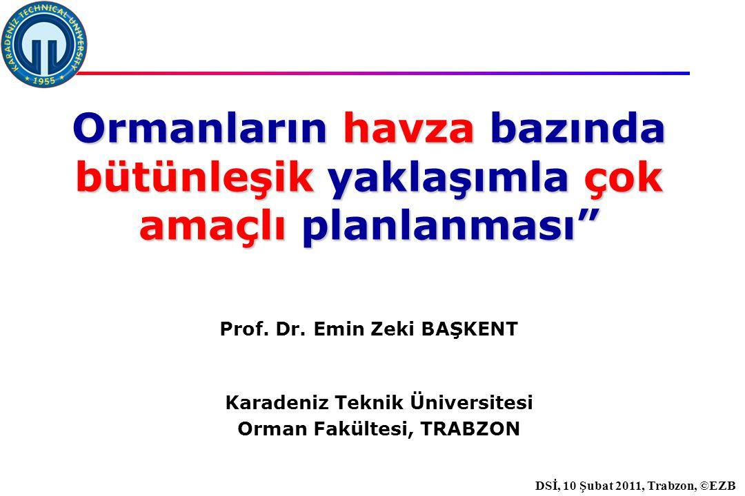 İstanbul, 2007 DSİ, 10 Şubat 2011, Trabzon, ©EZB Karadeniz Teknik Üniversitesi Orman Fakültesi, TRABZON Ormanların havza bazında bütünleşik yaklaşımla çok amaçlı planlanması Prof.