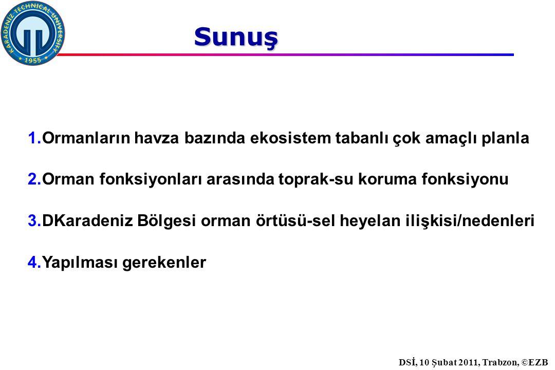 İstanbul, 2007 DSİ, 10 Şubat 2011, Trabzon, ©EZB Sunuş 1.Ormanların havza bazında ekosistem tabanlı çok amaçlı planla 2.Orman fonksiyonları arasında toprak-su koruma fonksiyonu 3.DKaradeniz Bölgesi orman örtüsü-sel heyelan ilişkisi/nedenleri 4.Yapılması gerekenler