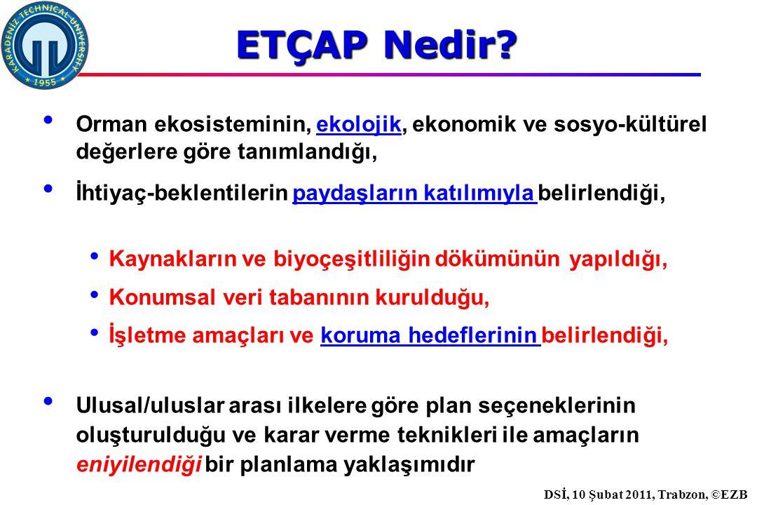 İstanbul, 2007 DSİ, 10 Şubat 2011, Trabzon, ©EZB Orman ekosisteminin, ekolojik, ekonomik ve sosyo-kültürel değerlere göre tanımlandığı, İhtiyaç-beklentilerin paydaşların katılımıyla belirlendiği, Kaynakların ve biyoçeşitliliğin dökümünün yapıldığı, Konumsal veri tabanının kurulduğu, İşletme amaçları ve koruma hedeflerinin belirlendiği, Ulusal/uluslar arası ilkelere göre plan seçeneklerinin oluşturulduğu ve karar verme teknikleri ile amaçların eniyilendiği bir planlama yaklaşımıdır ETÇAP Nedir