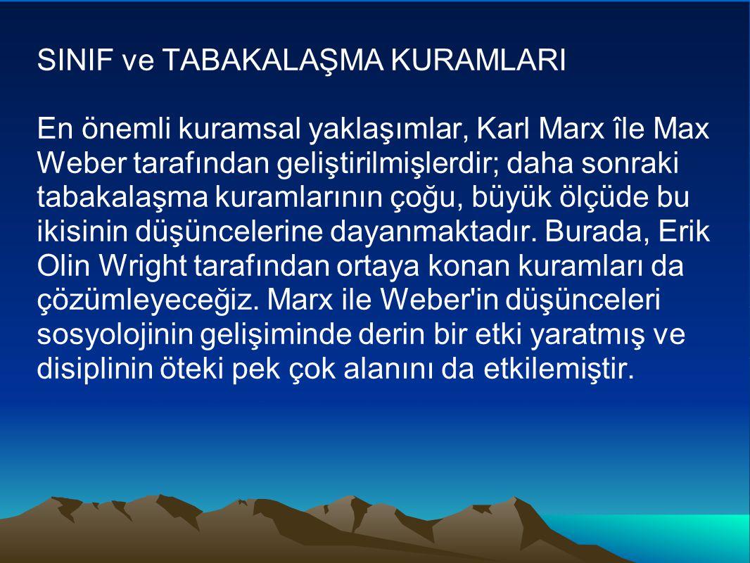 SINIF ve TABAKALAŞMA KURAMLARI En önemli kuramsal yaklaşımlar, Karl Marx île Max Weber tarafından geliştirilmişlerdir; daha sonraki tabakalaşma kuramlarının çoğu, büyük ölçüde bu ikisinin düşüncelerine dayanmaktadır.