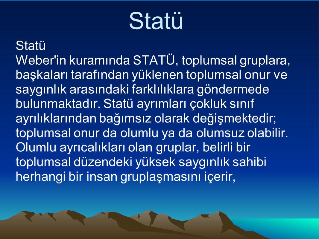 Statü Statü Weber in kuramında STATÜ, toplumsal gruplara, başkaları tarafından yüklenen toplumsal onur ve saygınlık arasındaki farklılıklara göndermede bulunmaktadır.