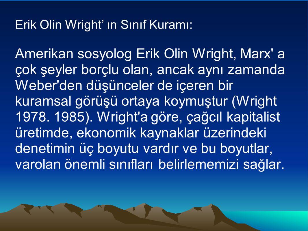 Erik Olin Wright' ın Sınıf Kuramı: Amerikan sosyolog Erik Olin Wright, Marx a çok şeyler borçlu olan, ancak aynı zamanda Weber den düşünceler de içeren bir kuramsal görüşü ortaya koymuştur (Wright 1978.