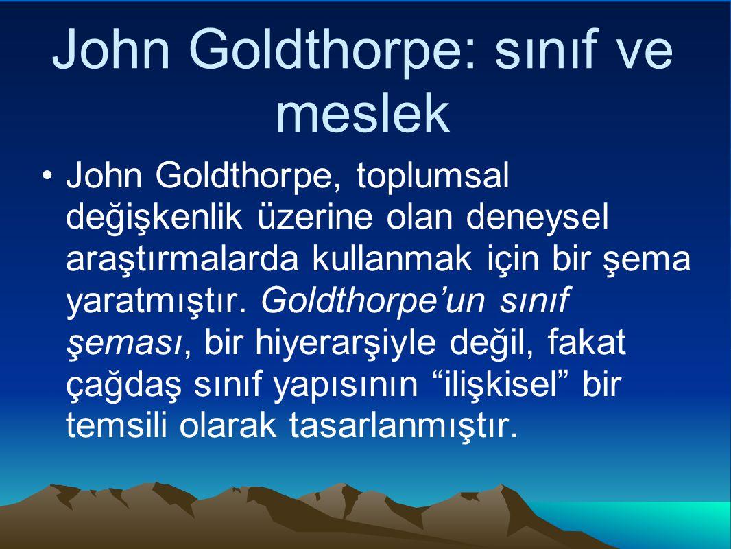 John Goldthorpe: sınıf ve meslek John Goldthorpe, toplumsal değişkenlik üzerine olan deneysel araştırmalarda kullanmak için bir şema yaratmıştır.