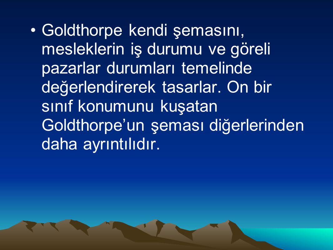 Goldthorpe kendi şemasını, mesleklerin iş durumu ve göreli pazarlar durumları temelinde değerlendirerek tasarlar.