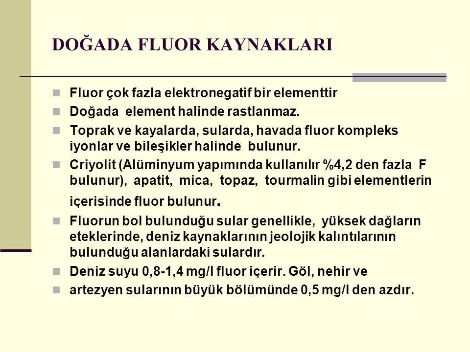 DOĞADA FLUOR KAYNAKLARI Fluor çok fazla elektronegatif bir elementtir Doğada element halinde rastlanmaz.