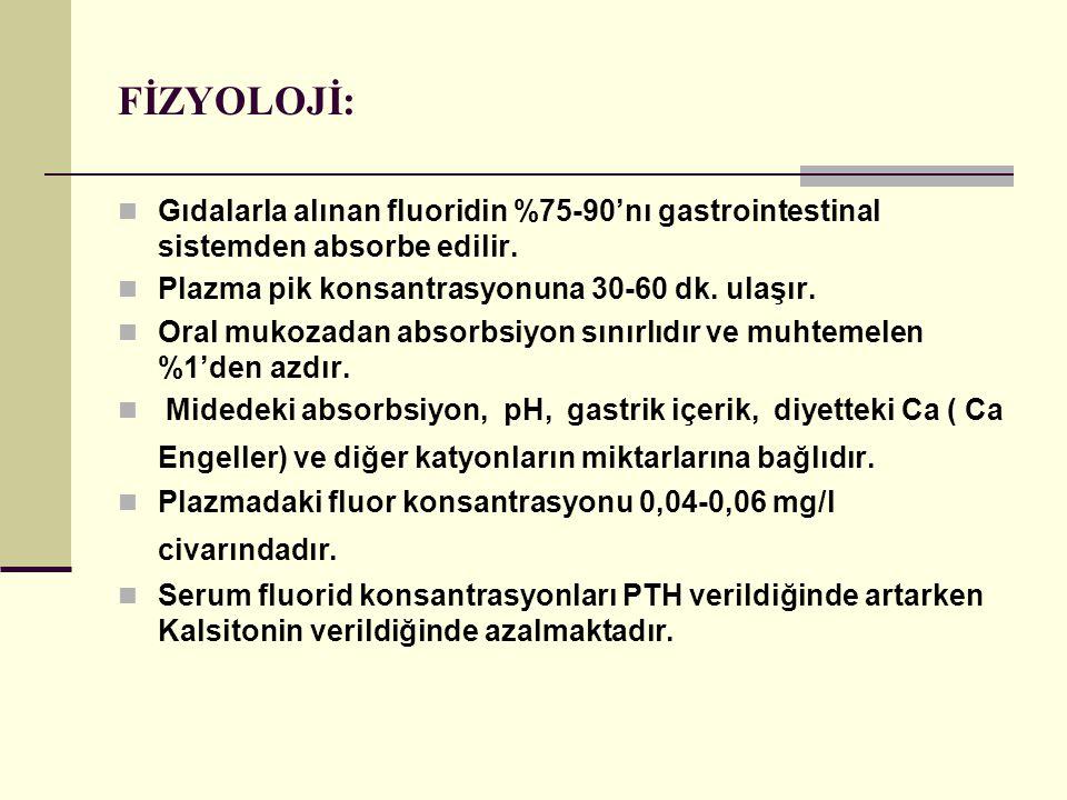 FİZYOLOJİ: Gıdalarla alınan fluoridin %75-90'nı gastrointestinal sistemden absorbe edilir.
