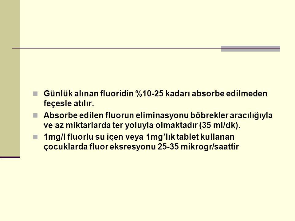 Günlük alınan fluoridin %10-25 kadarı absorbe edilmeden feçesle atılır.