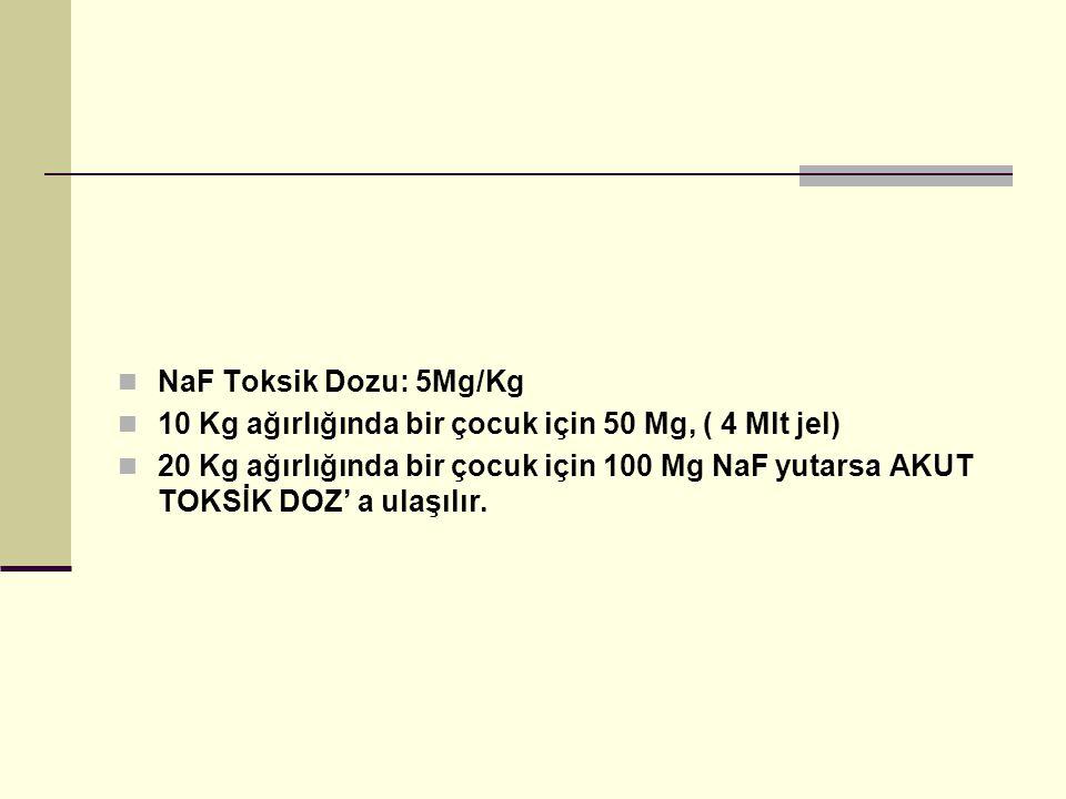 NaF Toksik Dozu: 5Mg/Kg 10 Kg ağırlığında bir çocuk için 50 Mg, ( 4 Mlt jel) 20 Kg ağırlığında bir çocuk için 100 Mg NaF yutarsa AKUT TOKSİK DOZ' a ulaşılır.