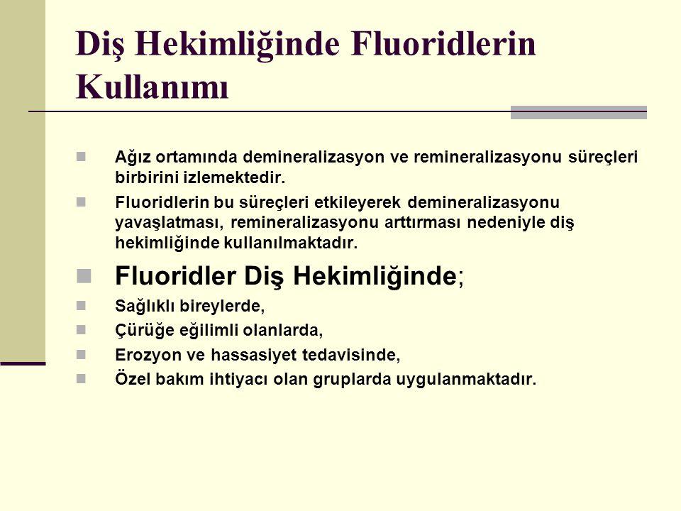 Diş Hekimliğinde Fluoridlerin Kullanımı Ağız ortamında demineralizasyon ve remineralizasyonu süreçleri birbirini izlemektedir.