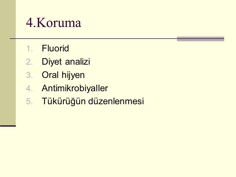 4.Koruma 1. Fluorid 2. Diyet analizi 3. Oral hijyen 4. Antimikrobiyaller 5. Tükürüğün düzenlenmesi