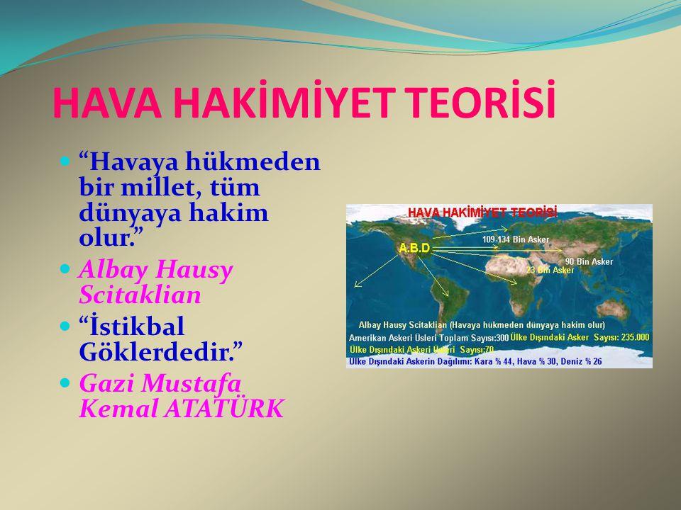 """HAVA HAKİMİYET TEORİSİ """"Havaya hükmeden bir millet, tüm dünyaya hakim olur."""" Albay Hausy Scitaklian """"İstikbal Göklerdedir."""" Gazi Mustafa Kemal ATATÜRK"""