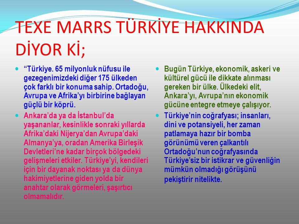 """TEXE MARRS TÜRKİYE HAKKINDA DİYOR Kİ; """"Türkiye. 65 milyonluk nüfusu ile gezegenimizdeki diğer 175 ülkeden çok farklı bir konuma sahip. Ortadoğu, Avrup"""