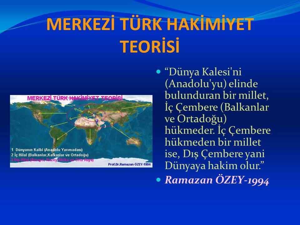 """MERKEZİ TÜRK HAKİMİYET TEORİSİ """"Dünya Kalesi'ni (Anadolu'yu) elinde bulunduran bir millet, İç Çembere (Balkanlar ve Ortadoğu) hükmeder. İç Çembere hük"""