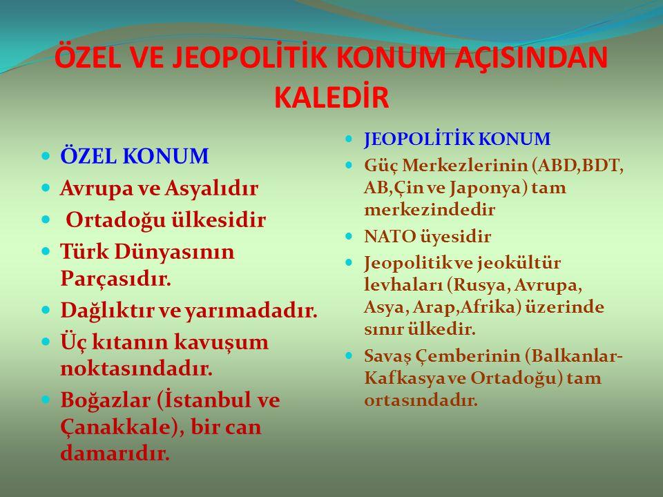 ÖZEL VE JEOPOLİTİK KONUM AÇISINDAN KALEDİR ÖZEL KONUM Avrupa ve Asyalıdır Ortadoğu ülkesidir Türk Dünyasının Parçasıdır. Dağlıktır ve yarımadadır. Üç