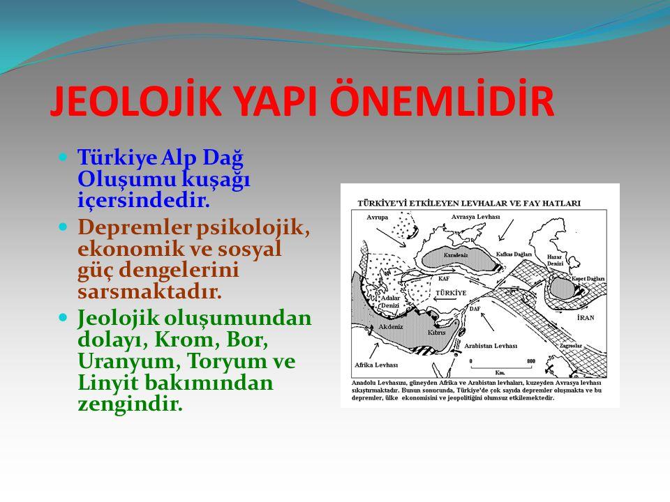 JEOLOJİK YAPI ÖNEMLİDİR Türkiye Alp Dağ Oluşumu kuşağı içersindedir. Depremler psikolojik, ekonomik ve sosyal güç dengelerini sarsmaktadır. Jeolojik o