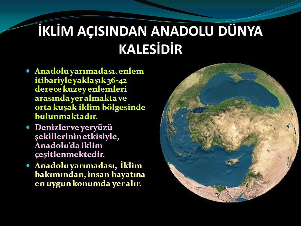 İKLİM AÇISINDAN ANADOLU DÜNYA KALESİDİR Anadolu yarımadası, enlem itibariyle yaklaşık 36-42 derece kuzey enlemleri arasında yer almakta ve orta kuşak