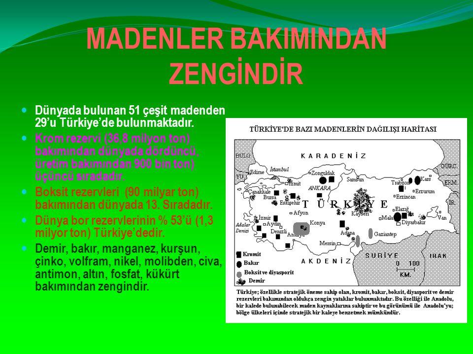 MADENLER BAKIMINDAN ZENGİNDİR Dünyada bulunan 51 çeşit madenden 29'u Türkiye'de bulunmaktadır. Krom rezervi (36,8 milyon ton) bakımından dünyada dördü