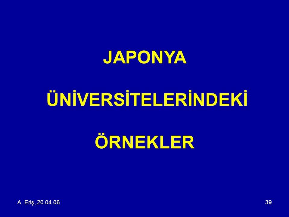 A. Eriş, 20.04.0639 JAPONYA ÜNİVERSİTELERİNDEKİ ÖRNEKLER