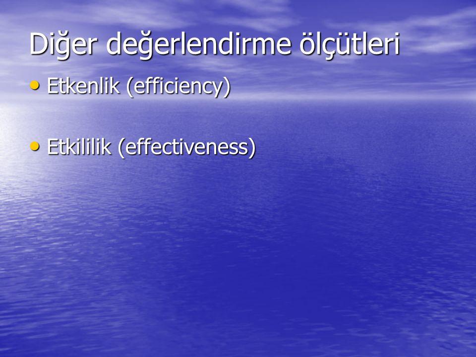 Diğer değerlendirme ölçütleri Etkenlik (efficiency) Etkenlik (efficiency) Etkililik (effectiveness) Etkililik (effectiveness)