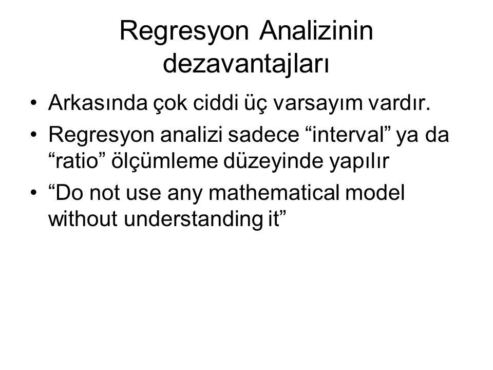 Regresyon Analizinin dezavantajları Arkasında çok ciddi üç varsayım vardır.