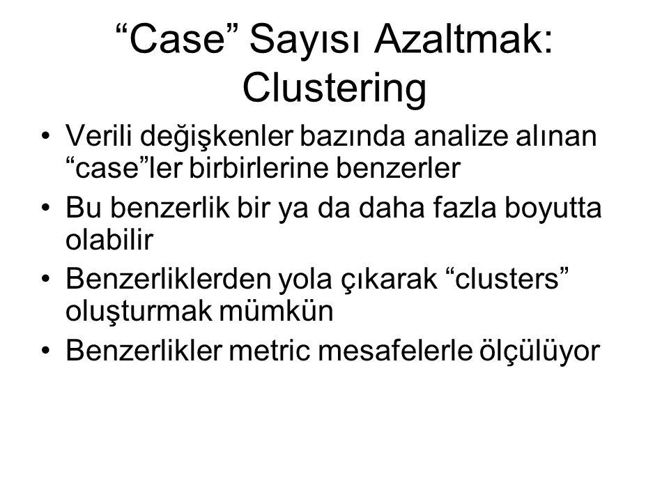 Case Sayısı Azaltmak: Clustering Verili değişkenler bazında analize alınan case ler birbirlerine benzerler Bu benzerlik bir ya da daha fazla boyutta olabilir Benzerliklerden yola çıkarak clusters oluşturmak mümkün Benzerlikler metric mesafelerle ölçülüyor