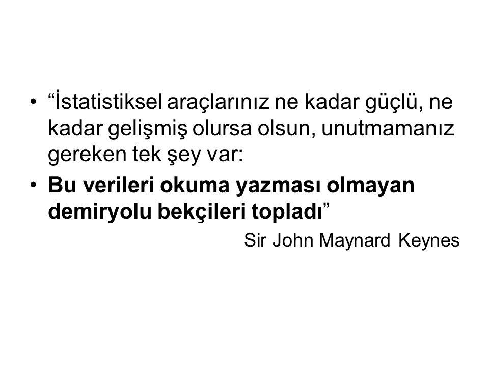 İstatistiksel araçlarınız ne kadar güçlü, ne kadar gelişmiş olursa olsun, unutmamanız gereken tek şey var: Bu verileri okuma yazması olmayan demiryolu bekçileri topladı Sir John Maynard Keynes