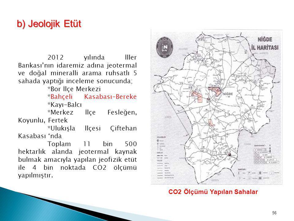 b) Jeolojik Etüt 2012 yılında İller Bankası'nın idaremiz adına jeotermal ve doğal mineralli arama ruhsatlı 5 sahada yaptığı inceleme sonucunda; *Bor İ