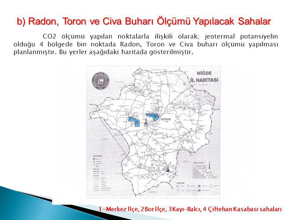 b) Radon, Toron ve Civa Buharı Ölçümü Yapılacak Sahalar 1-Merkez İlçe, 2Bor İlçe, 3Kayı-Balcı, 4 Çiftehan Kasabası sahaları CO2 ölçümü yapılan noktala