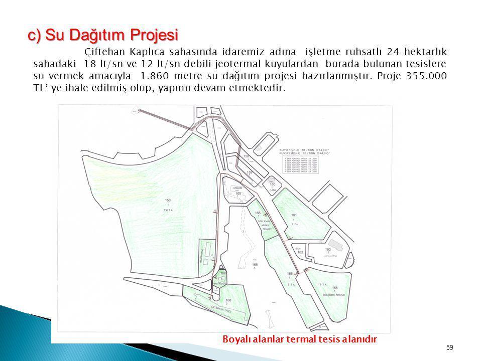 c) Su Dağıtım Projesi c) Su Dağıtım Projesi Çiftehan Kaplıca sahasında idaremiz adına işletme ruhsatlı 24 hektarlık sahadaki 18 lt/sn ve 12 lt/sn debi