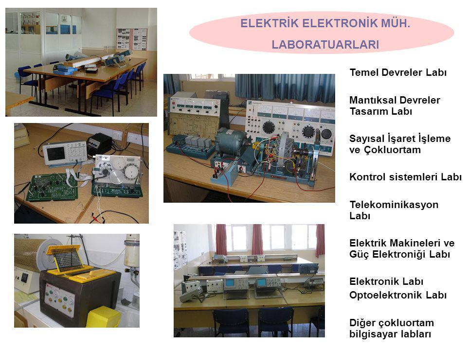 Temel Devreler Labı Mantıksal Devreler Tasarım Labı Sayısal İşaret İşleme ve Çokluortam Kontrol sistemleri Labı Telekominikasyon Labı Elektrik Makineleri ve Güç Elektroniği Labı Elektronik Labı Optoelektronik Labı Diğer çokluortam bilgisayar labları ELEKTRİK ELEKTRONİK MÜH.
