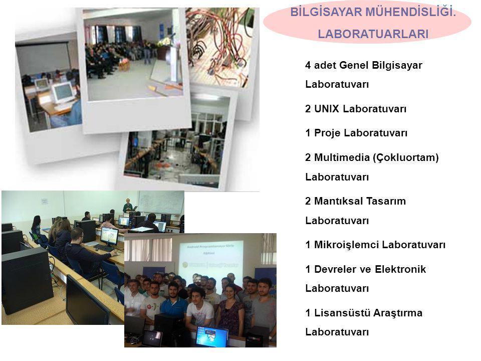4 adet Genel Bilgisayar Laboratuvarı 2 UNIX Laboratuvarı 1 Proje Laboratuvarı 2 Multimedia (Çokluortam) Laboratuvarı 2 Mantıksal Tasarım Laboratuvarı 1 Mikroişlemci Laboratuvarı 1 Devreler ve Elektronik Laboratuvarı 1 Lisansüstü Araştırma Laboratuvarı BİLGİSAYAR MÜHENDİSLİĞİ.